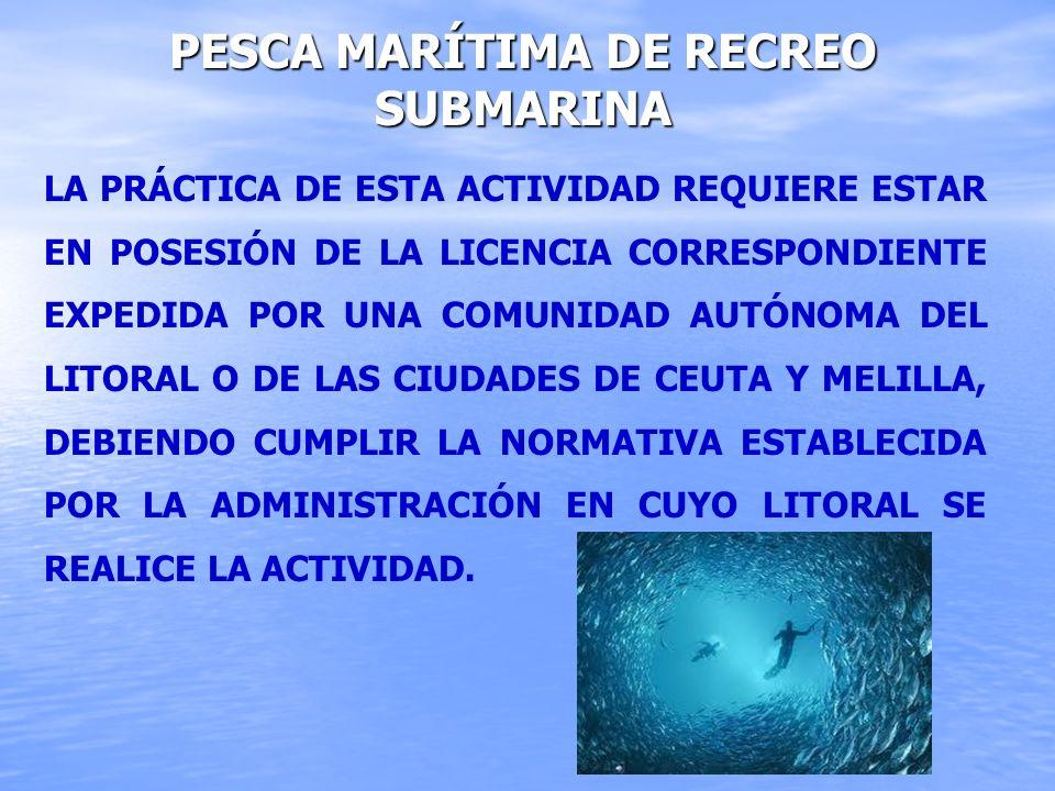 PESCA MARÍTIMA DE RECREO SUBMARINA LA PRÁCTICA DE ESTA ACTIVIDAD REQUIERE ESTAR EN POSESIÓN DE LA LICENCIA CORRESPONDIENTE EXPEDIDA POR UNA COMUNIDAD