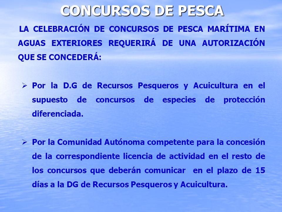 CONCURSOS DE PESCA LA CELEBRACIÓN DE CONCURSOS DE PESCA MARÍTIMA EN AGUAS EXTERIORES REQUERIRÁ DE UNA AUTORIZACIÓN QUE SE CONCEDERÁ: Por la D.G de Rec