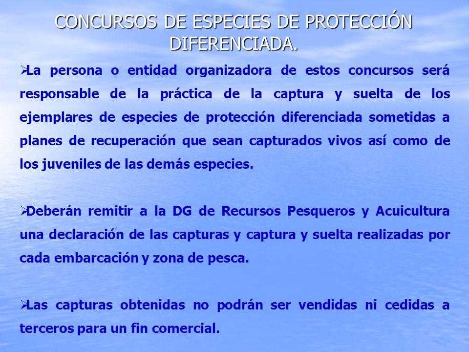 CONCURSOS DE ESPECIES DE PROTECCIÓN DIFERENCIADA. La persona o entidad organizadora de estos concursos será responsable de la práctica de la captura y