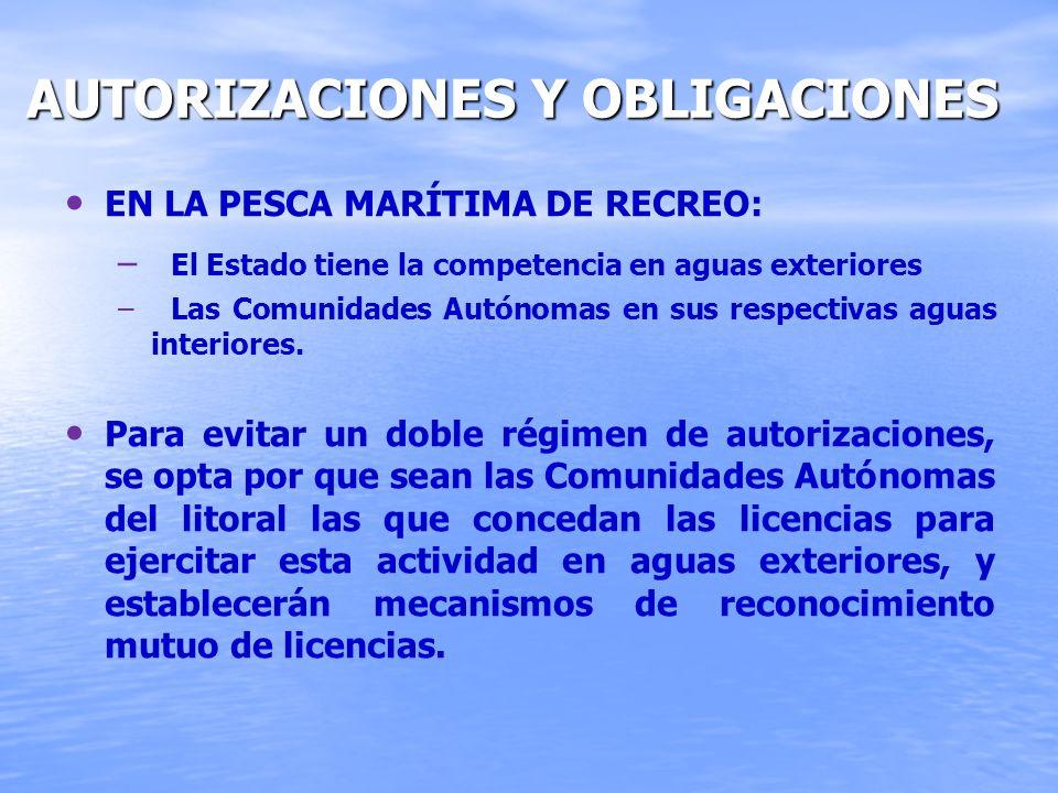 AUTORIZACIONES Y OBLIGACIONES AUTORIZACIONES Y OBLIGACIONES EN LA PESCA MARÍTIMA DE RECREO: – – El Estado tiene la competencia en aguas exteriores – –