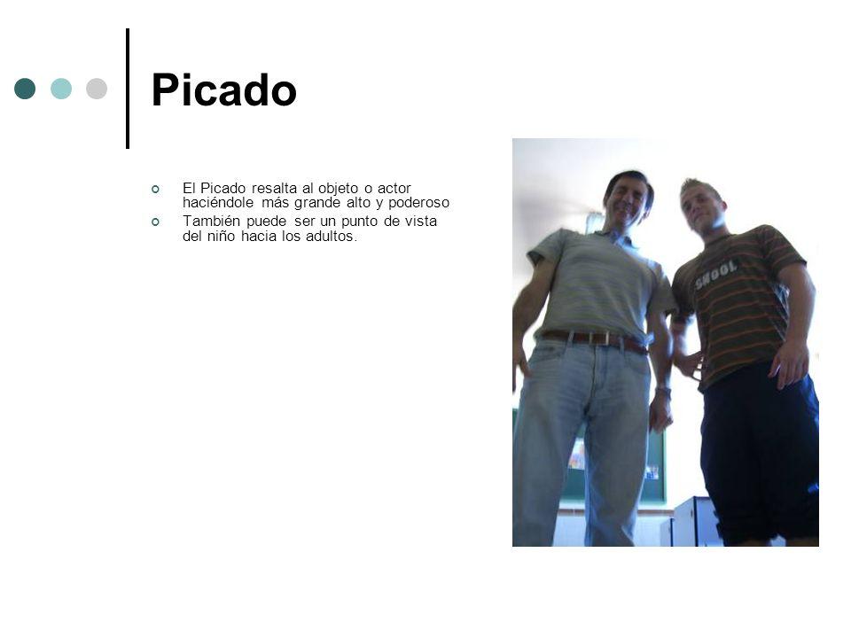 Picado El Picado resalta al objeto o actor haciéndole más grande alto y poderoso También puede ser un punto de vista del niño hacia los adultos.