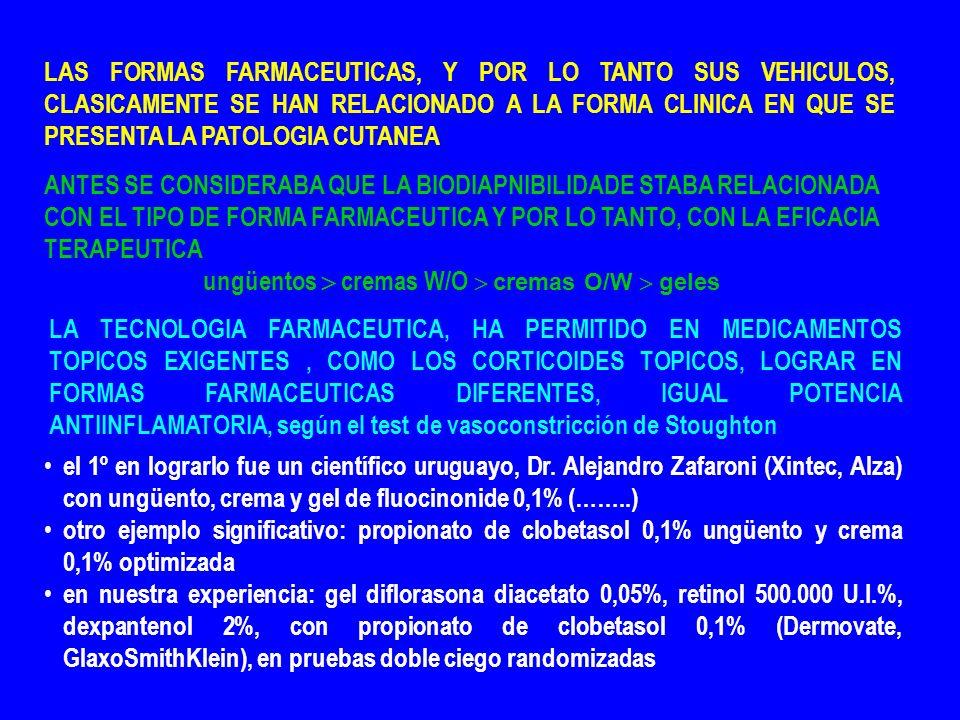 LAS FORMAS FARMACEUTICAS, Y POR LO TANTO SUS VEHICULOS, CLASICAMENTE SE HAN RELACIONADO A LA FORMA CLINICA EN QUE SE PRESENTA LA PATOLOGIA CUTANEA ANTES SE CONSIDERABA QUE LA BIODIAPNIBILIDADE STABA RELACIONADA CON EL TIPO DE FORMA FARMACEUTICA Y POR LO TANTO, CON LA EFICACIA TERAPEUTICA ungüentos cremas W/O cremas O/W geles el 1º en lograrlo fue un científico uruguayo, Dr.