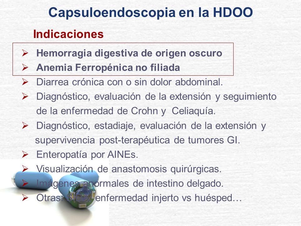 Hemorragia digestiva de origen oscuro Anemia Ferropénica no filiada Diarrea crónica con o sin dolor abdominal. Diagnóstico, evaluación de la extensión