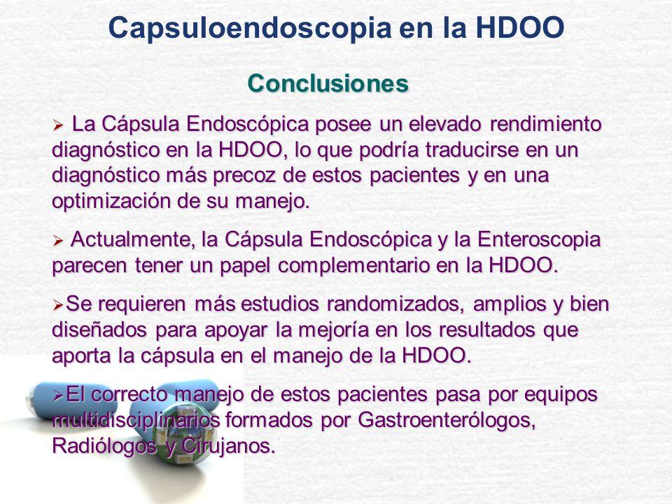 La Cápsula Endoscópica posee un elevado rendimiento diagnóstico en la HDOO, lo que podría traducirse en un diagnóstico más precoz de estos pacientes y