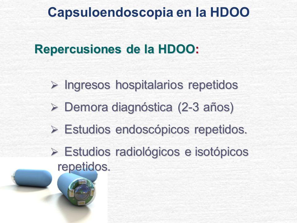 HDOO: Etiología Angiodisplasia Angiodisplasia70- 80 % Tumores Tumores5- 10 % Miscelánea Miscelánea Relacionada con medicación (AINEs...) Infecciones (tuberculosis...) Enfermedad de Crohn Divertículo de Meckel Enteritis por Radiación Isquemia Mesentérica Crónica...