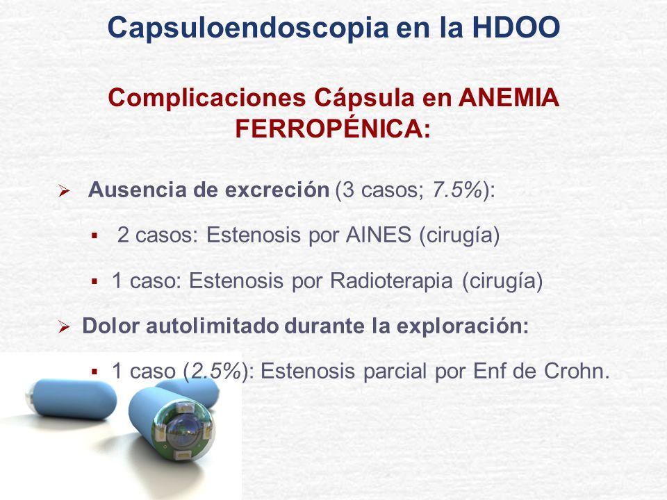 Ausencia de excreción (3 casos; 7.5%): 2 casos: Estenosis por AINES (cirugía) 1 caso: Estenosis por Radioterapia (cirugía) Dolor autolimitado durante