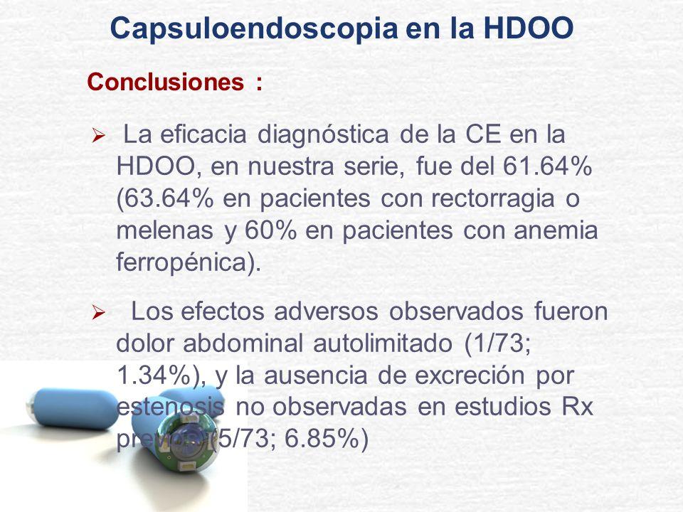 Conclusiones : La eficacia diagnóstica de la CE en la HDOO, en nuestra serie, fue del 61.64% (63.64% en pacientes con rectorragia o melenas y 60% en p