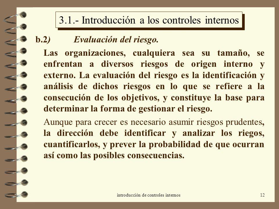 introducción de controles internos12 3.1.- Introducción a los controles internos b.2) Evaluación del riesgo. Las organizaciones, cualquiera sea su tam