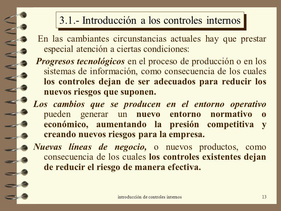 introducción de controles internos13 3.1.- Introducción a los controles internos En las cambiantes circunstancias actuales hay que prestar especial at