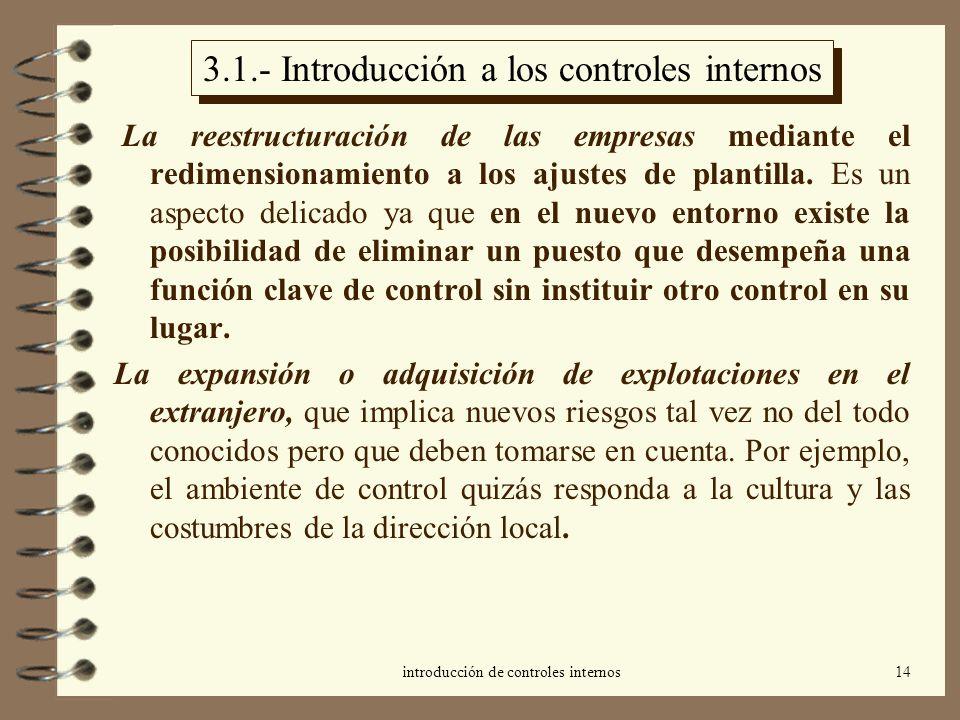 introducción de controles internos14 3.1.- Introducción a los controles internos La reestructuración de las empresas mediante el redimensionamiento a los ajustes de plantilla.