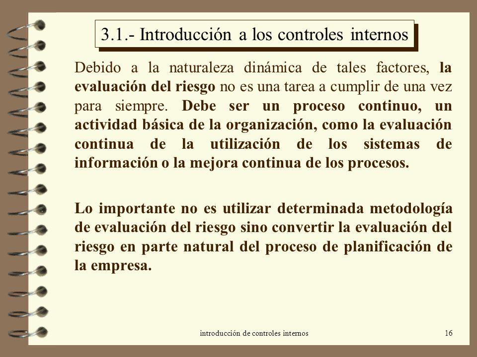 introducción de controles internos16 3.1.- Introducción a los controles internos Debido a la naturaleza dinámica de tales factores, la evaluación del