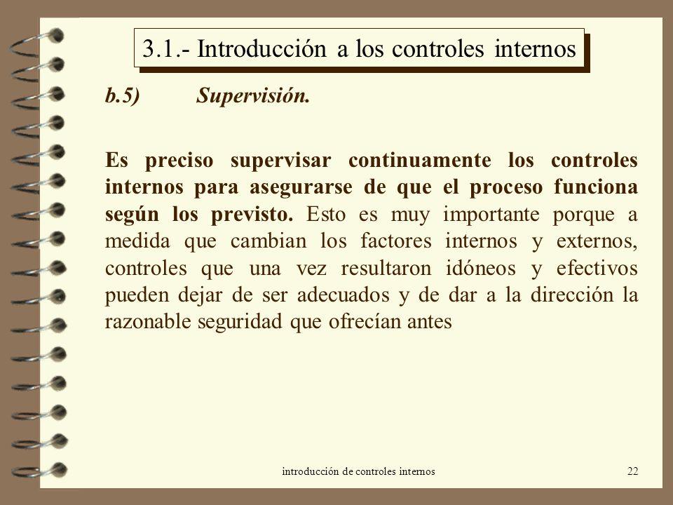 introducción de controles internos22 3.1.- Introducción a los controles internos b.5) Supervisión. Es preciso supervisar continuamente los controles i