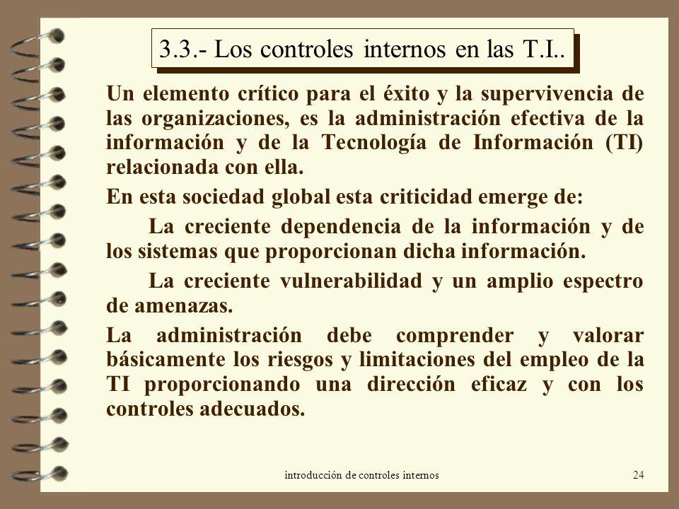 introducción de controles internos24 3.3.- Los controles internos en las T.I.. Un elemento crítico para el éxito y la supervivencia de las organizacio
