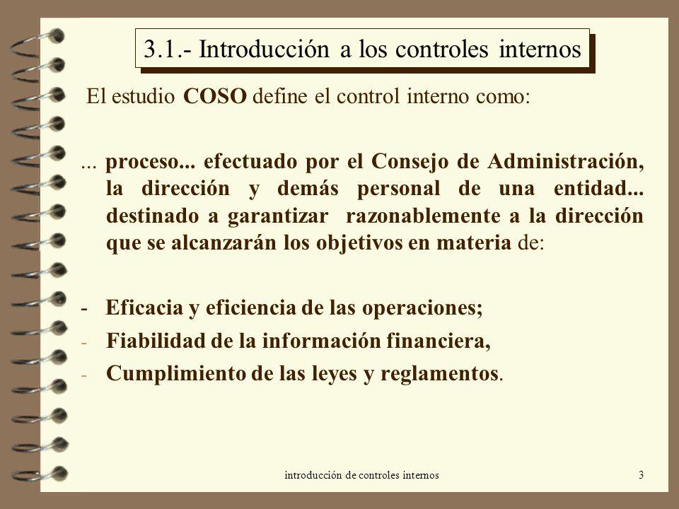 introducción de controles internos3 3.1.- Introducción a los controles internos El estudio COSO define el control interno como:... proceso... efectuad
