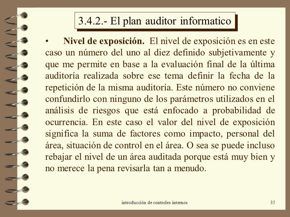 introducción de controles internos35 3.4.2.- El plan auditor informatico Nivel de exposición. El nivel de exposición es en este caso un número del uno