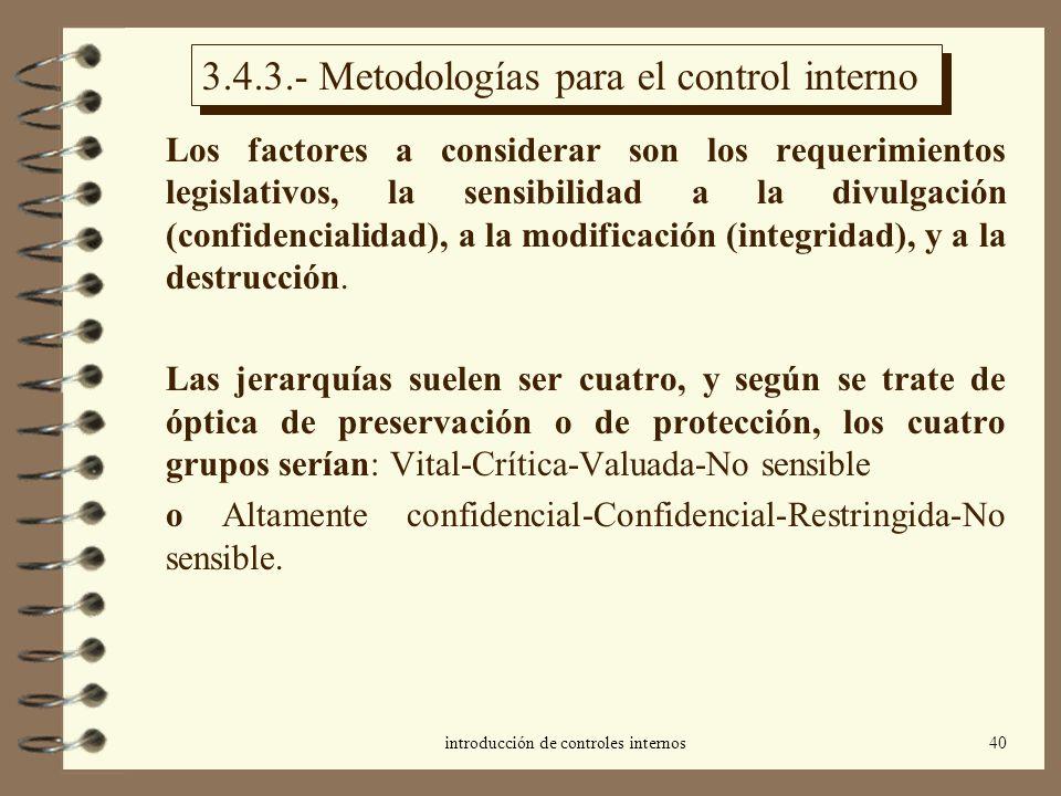 introducción de controles internos40 3.4.3.- Metodologías para el control interno Los factores a considerar son los requerimientos legislativos, la se