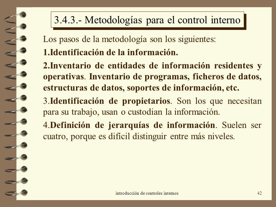 introducción de controles internos42 3.4.3.- Metodologías para el control interno Los pasos de la metodología son los siguientes: 1.Identificación de