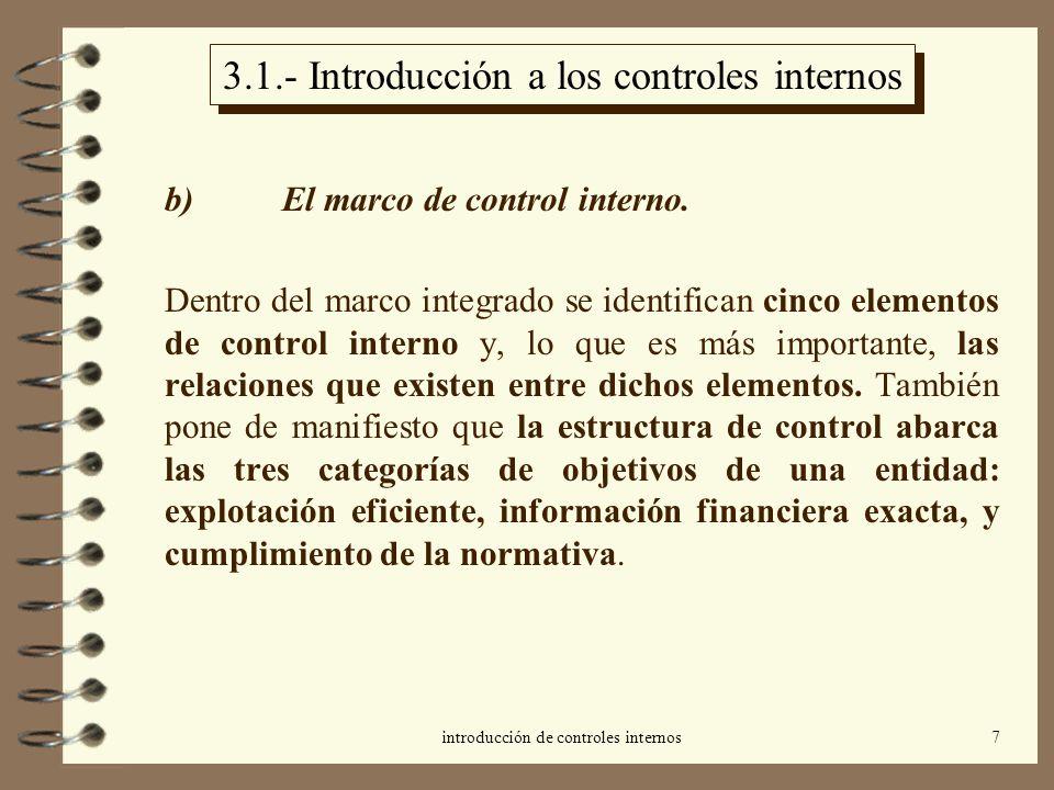 introducción de controles internos7 3.1.- Introducción a los controles internos b) El marco de control interno. Dentro del marco integrado se identifi