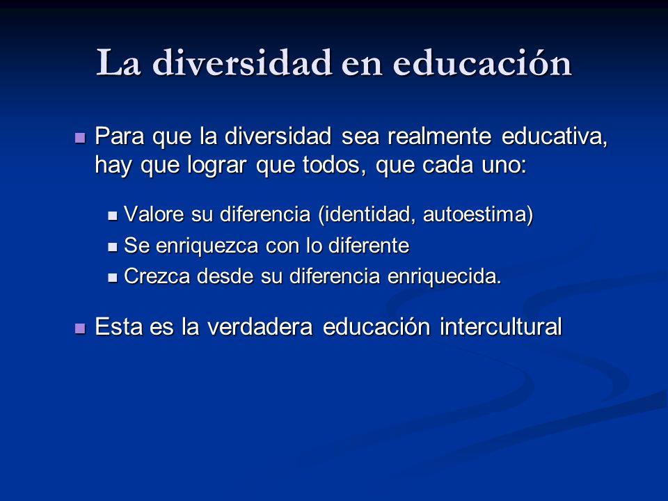 La diversidad en educación Para que la diversidad sea realmente educativa, hay que lograr que todos, que cada uno: Para que la diversidad sea realmente educativa, hay que lograr que todos, que cada uno: Valore su diferencia (identidad, autoestima) Valore su diferencia (identidad, autoestima) Se enriquezca con lo diferente Se enriquezca con lo diferente Crezca desde su diferencia enriquecida.