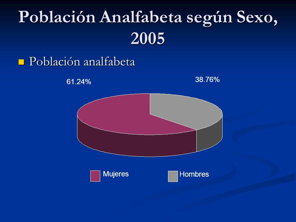 Población Analfabeta según Sexo, 2005 Población analfabeta Población analfabeta 38.76% 61.24% Mujeres Hombres
