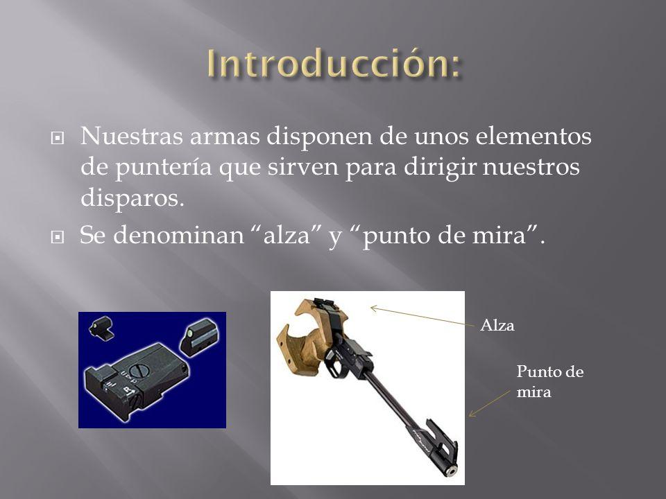 Nuestras armas disponen de unos elementos de puntería que sirven para dirigir nuestros disparos. Se denominan alza y punto de mira. Alza Punto de mira