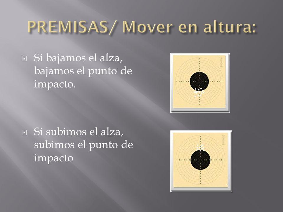 Si movemos el alza a la derecha, nuestros impactos se desplazaran a la derecha.
