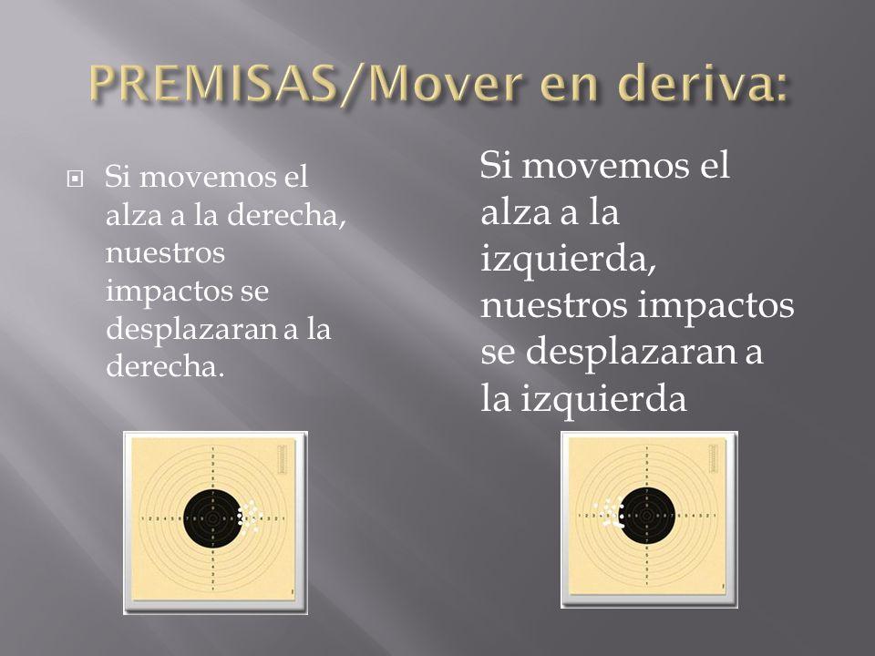 Si movemos el alza a la derecha, nuestros impactos se desplazaran a la derecha. Si movemos el alza a la izquierda, nuestros impactos se desplazaran a