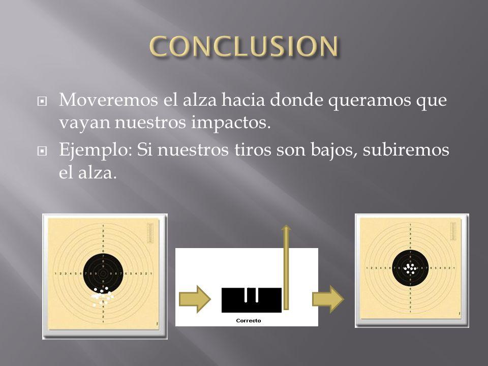 Moveremos el alza hacia donde queramos que vayan nuestros impactos. Ejemplo: Si nuestros tiros son bajos, subiremos el alza.