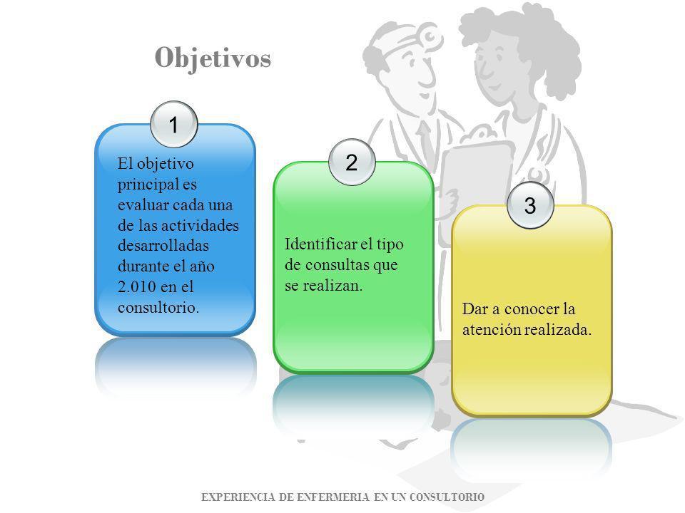 Objetivos 123 El objetivo principal es evaluar cada una de las actividades desarrolladas durante el año 2.010 en el consultorio. Identificar el tipo d