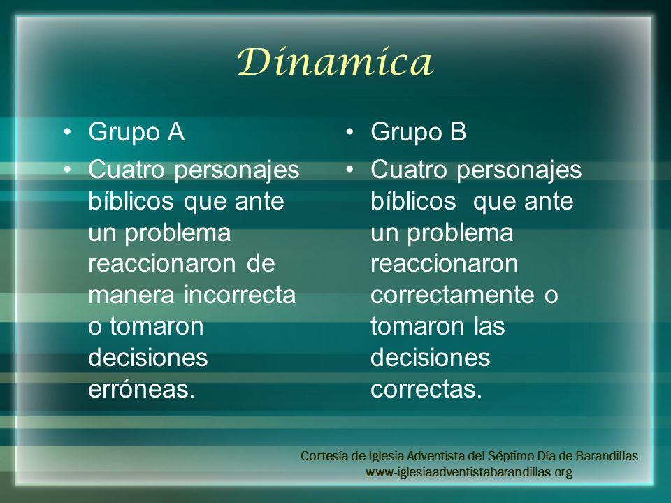 Dinamica Grupo A Cuatro personajes bíblicos que ante un problema reaccionaron de manera incorrecta o tomaron decisiones erróneas. Grupo B Cuatro perso