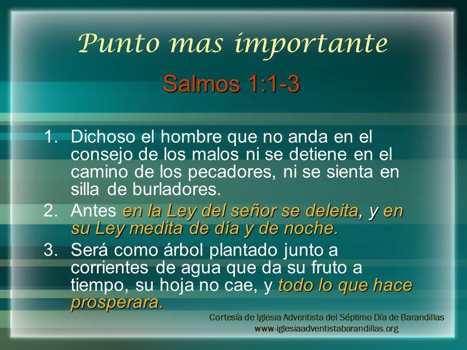 Punto mas importante Salmos 1:1-3 1.Dichoso el hombre que no anda en el consejo de los malos ni se detiene en el camino de los pecadores, ni se sienta