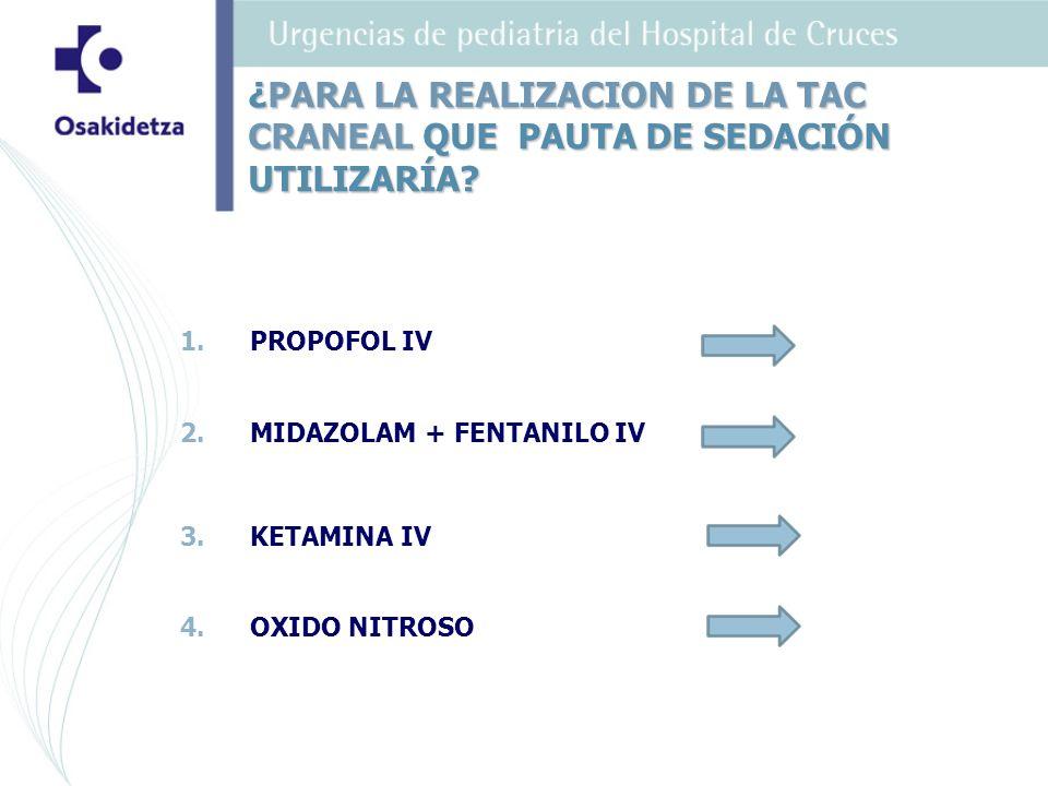 ¿PARA LA REALIZACION DE LA TAC CRANEAL QUE PAUTA DE SEDACIÓN UTILIZARÍA? 1.PROPOFOL IV 2.MIDAZOLAM + FENTANILO IV 3.KETAMINA IV 4.OXIDO NITROSO