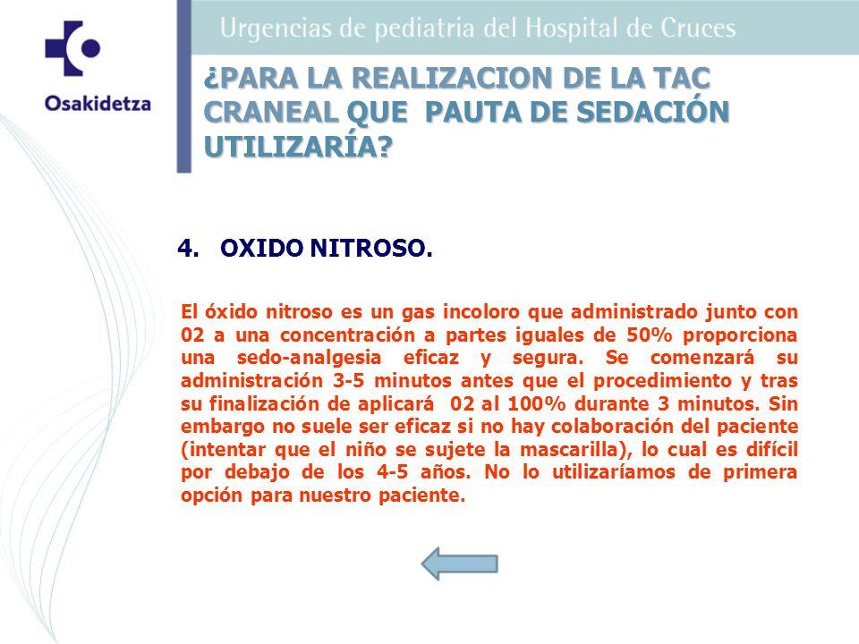 4.OXIDO NITROSO. El óxido nitroso es un gas incoloro que administrado junto con 02 a una concentración a partes iguales de 50% proporciona una sedo-an