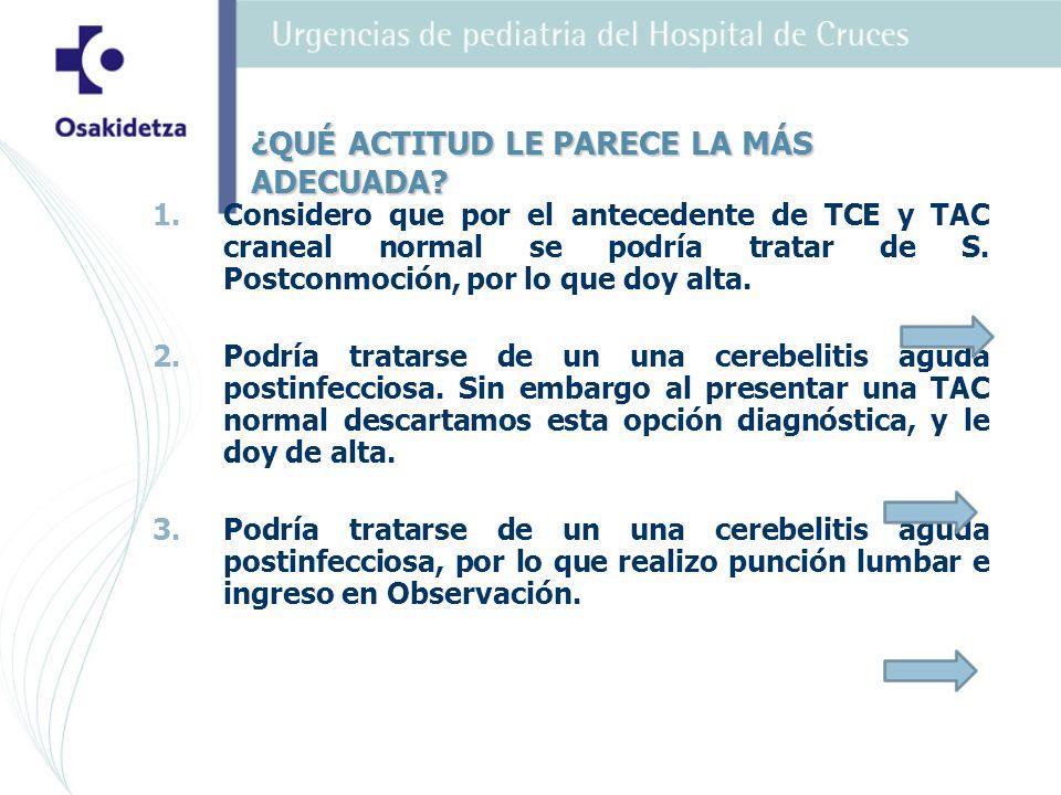 1. 1.Considero que por el antecedente de TCE y TAC craneal normal se podría tratar de S. Postconmoción, por lo que doy alta. 2. 2.Podría tratarse de u