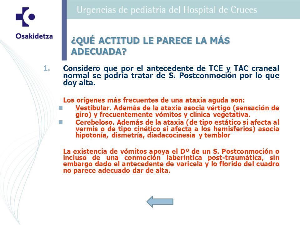 1. 1.Considero que por el antecedente de TCE y TAC craneal normal se podría tratar de S. Postconmoción por lo que doy alta. Los orígenes más frecuente