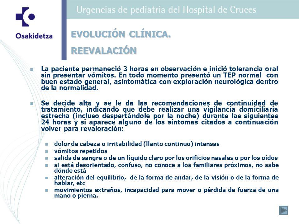 TAC: No hemorragia, ni fracturas, ni otros hallazgos significativos Se reinterroga a la madre y nos comenta que hace 2 semanas la paciente presentó un exantema compatible con varicela.