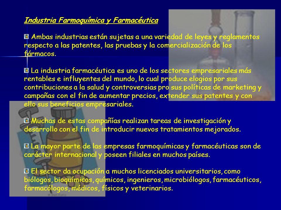 Industria Farmoquímica y Farmacéutica Ambas industrias están sujetas a una variedad de leyes y reglamentos respecto a las patentes, las pruebas y la c