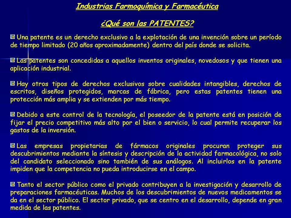 Industrias Farmoquímica y Farmacéutica ¿Qué son las PATENTES? Una patente es un derecho exclusivo a la explotación de una invención sobre un período d