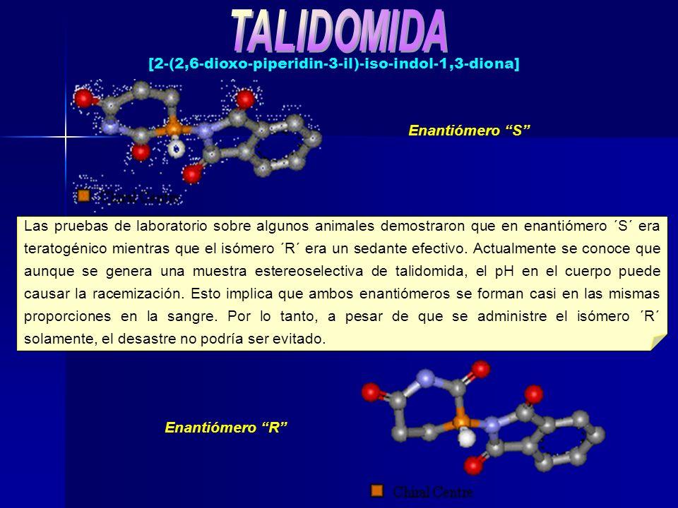 Las pruebas de laboratorio sobre algunos animales demostraron que en enantiómero ´S´ era teratogénico mientras que el isómero ´R´ era un sedante efect