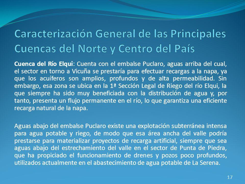 Cuenca del Río Elqui: Cuenta con el embalse Puclaro, aguas arriba del cual, el sector en torno a Vicuña se prestaría para efectuar recargas a la napa,
