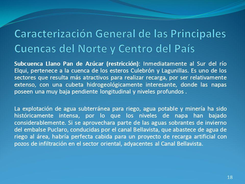 Subcuenca Llano Pan de Azúcar (restricción): Inmediatamente al Sur del río Elqui, pertenece a la cuenca de los esteros Culebrón y Lagunillas. Es uno d
