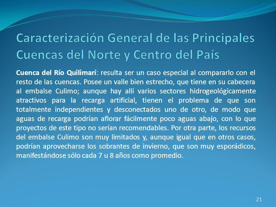 Cuenca del Río Quilimarí: resulta ser un caso especial al compararlo con el resto de las cuencas. Posee un valle bien estrecho, que tiene en su cabece
