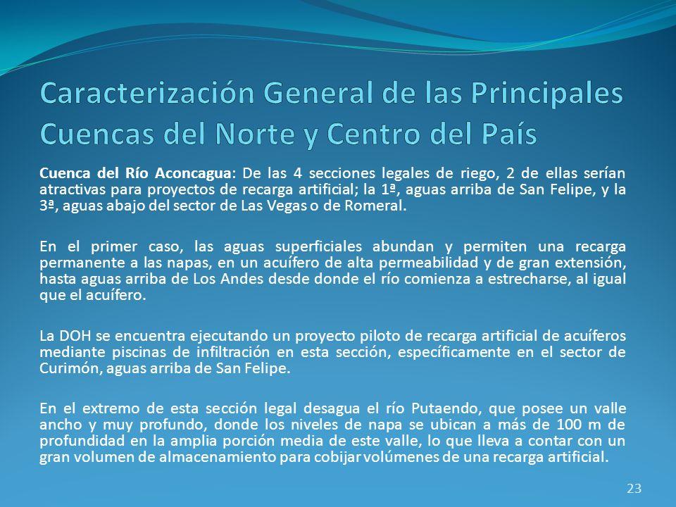 Cuenca del Río Aconcagua: De las 4 secciones legales de riego, 2 de ellas serían atractivas para proyectos de recarga artificial; la 1ª, aguas arriba