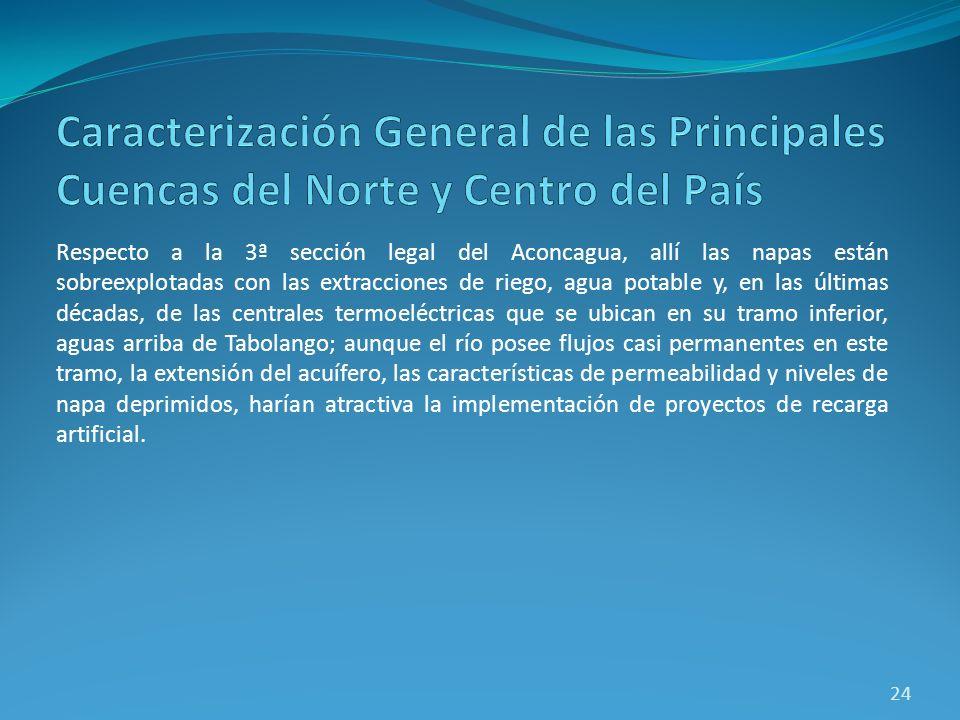 Respecto a la 3ª sección legal del Aconcagua, allí las napas están sobreexplotadas con las extracciones de riego, agua potable y, en las últimas décad