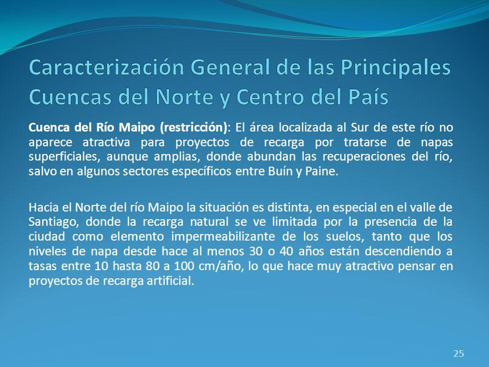 Cuenca del Río Maipo (restricción): El área localizada al Sur de este río no aparece atractiva para proyectos de recarga por tratarse de napas superfi