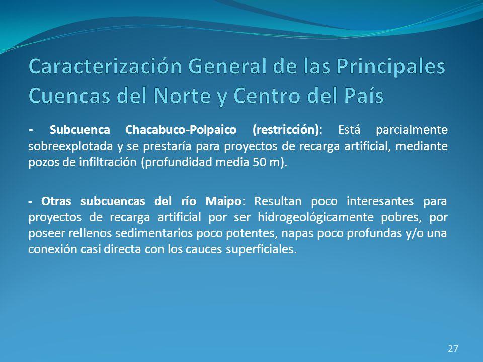 - Subcuenca Chacabuco-Polpaico (restricción): Está parcialmente sobreexplotada y se prestaría para proyectos de recarga artificial, mediante pozos de