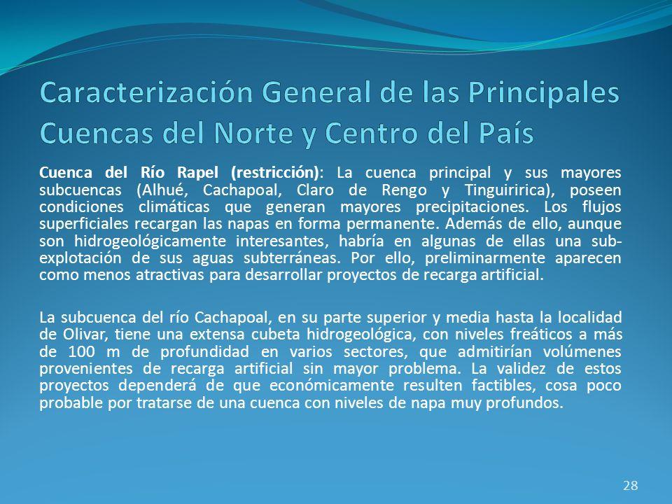 Cuenca del Río Rapel (restricción): La cuenca principal y sus mayores subcuencas (Alhué, Cachapoal, Claro de Rengo y Tinguiririca), poseen condiciones