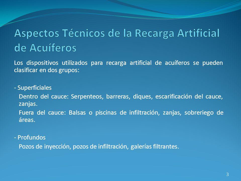 Los dispositivos utilizados para recarga artificial de acuíferos se pueden clasificar en dos grupos: - Superficiales Dentro del cauce: Serpenteos, bar