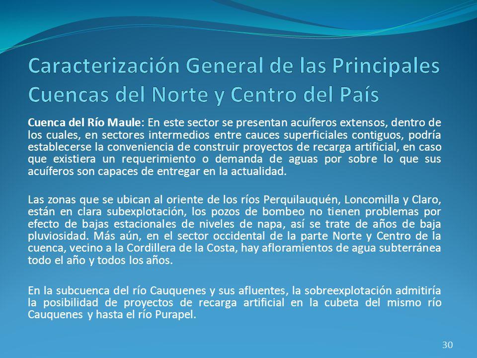 Cuenca del Río Maule: En este sector se presentan acuíferos extensos, dentro de los cuales, en sectores intermedios entre cauces superficiales contigu