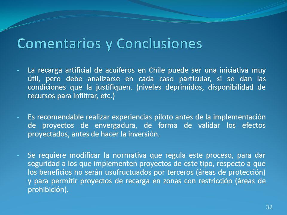 -La recarga artificial de acuíferos en Chile puede ser una iniciativa muy útil, pero debe analizarse en cada caso particular, si se dan las condicione